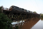 NS 8744 leads a coal train across the Yadkin River